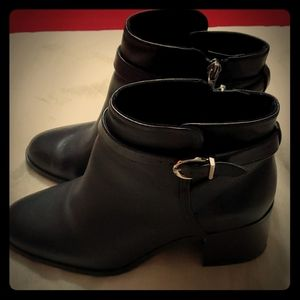Black Ankle Zip Boots with Silver Buckle